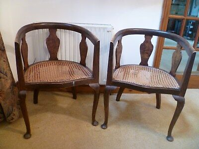 Pair Vintage cane-seated occasional tub chairs, possibly Edwardian