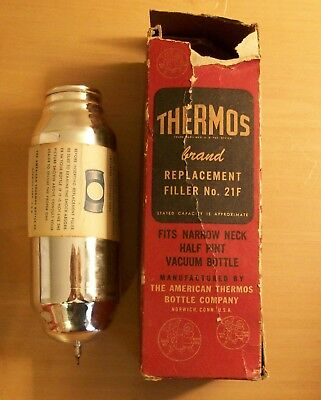 Thermos Brand No 21F Stronglas Replacement Filler 1/2 Pint size- Vintage