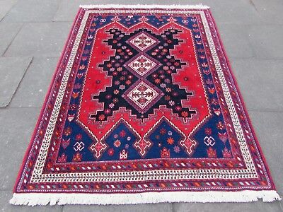 Old Traditional Hand Made Persian Rugs Oriental Wool Red Blue Rug 210x153cm