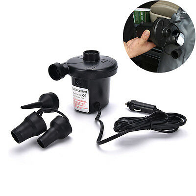 New 12V Car Auto DC Electric Air Pump Inflator +3 Nozzles AirBed Mattress Bo PL