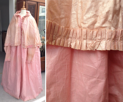 Antique Victorian domino masquerade fancy dress costume pink cloak pelisse gown