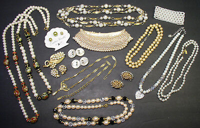 Lot Of Vintage Faux Pearl Jewelry