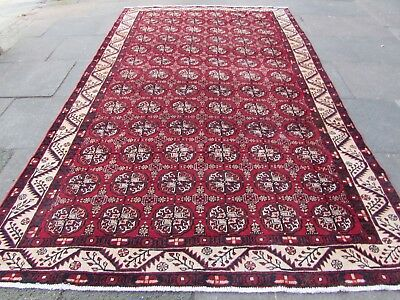 Old Hand Made Traditional Persian Rug Oriental Wool Red Blue Carpet 348x213cm