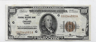 1929 $100 US National Currency Note, Federal Reserve Bank of Chicago - Hi-Grade
