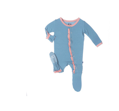KicKee Pants Ruffle Footie, Blue Moon with Blush Trim Size 6-12 month