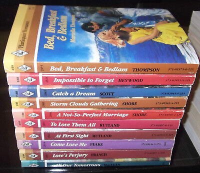 LOT OF 10 VINTAGE HARLEQUIN NEW ROMANCE BOOKS 1980's #76