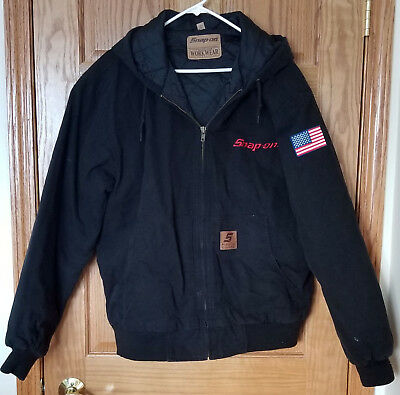 Snap On Tools Heavy Duty Black Canvas Jacket Lined Work Coat Men's Size Xl Used