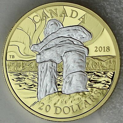 2018 $20 Iconic Canada: Inukshuk 1 oz. Reverse Gold-Plated 99.99% Pure Silver