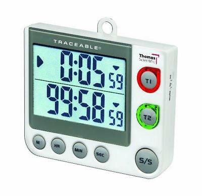 "Thomas 5017 Traceable Flashing LED Big-Digit Dual Channel Timer, 3"" Width x 3.5"""