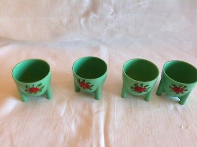 1930s 40s Vintage Retro Bakelite Early Plastic Green Floral Egg Cups With Feet 4