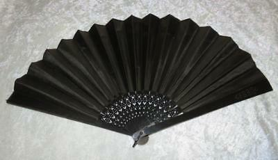 Antique Black Silk Mourning Hand Fan