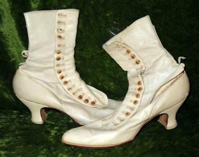 Antique Victorian White Leather Button Up Boots
