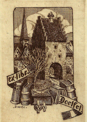 Willy DOELFEL Stadtor Exlibris Bookplate Etching Jugendstil-Radierung Town Gate
