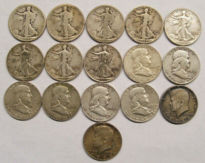 Almost A Full Roll - 16 Silver Half Dollars 90% - Walkers Franklin And Kennedy