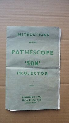 Pathescope 'Son' 9.5mm projector instructions/manual in good condition