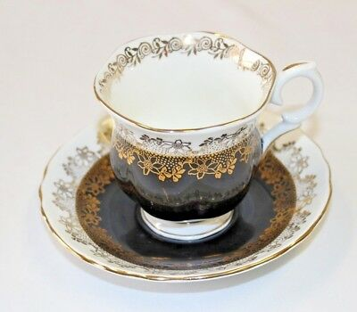 Crown Staffordshire  Cup & Saucer England Bone China / Black & Gold