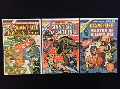 GIANT-SIZE Lot of 3 Marvel Comics - Fantastic Four #4, Man-Thing #3, Kung Fu #1!