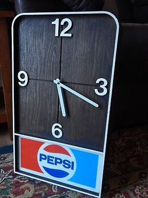 Pepsi-Cola [Faux Wood] Battery-Op ~12'' x 20''~ WALL CLOCK Soda Pop Sign Vtg Ltd