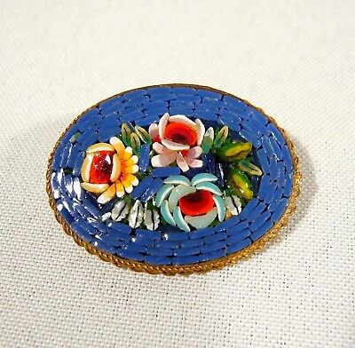 Vintage Glass Micro mosaic Brooch / Pin 3 Roses