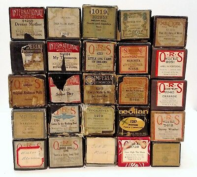 Lot Of 25 Vintage Player Piano Rolls: Supertone, Qrs, Aeolian, Melodee,supertone