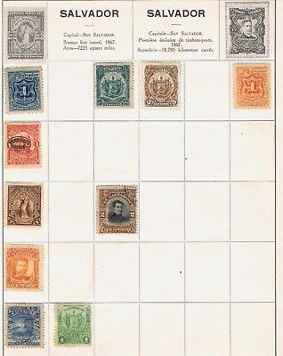 El Salvador 1892 to 1896 on 2 album pages 12 stamps inc officials Mint and Used