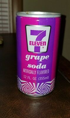 7-Eleven Steel Flat Top GRAPE Soda Can 1970s retro HIPPY psychedelic