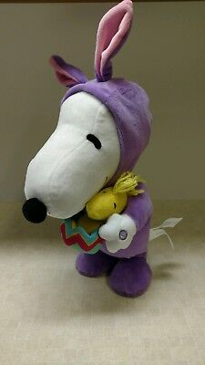 Easter animated Snoopy in a purple bunny costumn with Woodstock