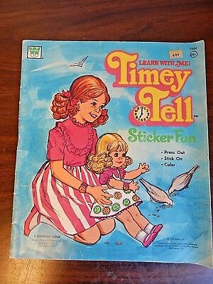 Vintage 1972 Whitman/Mattel TIMEY TELL Sticker Fun & Coloring Book