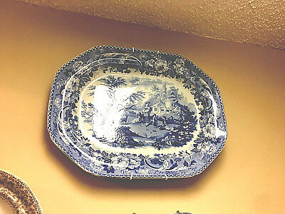 Large,heavy And Lovely Old Blue And White Porcelain Platter