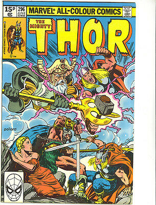 The Mighty Thor 296 vfn 1980 British cover price  Marvel comics US Comics