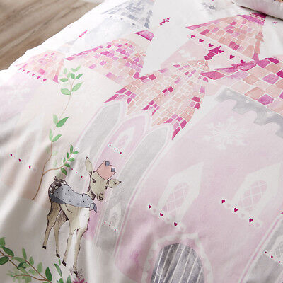 NEW 2pc ADAIRS KIDS WINTER CASTLE PINK COT QUILT COVER SET (COVER + PILLOWCASE)
