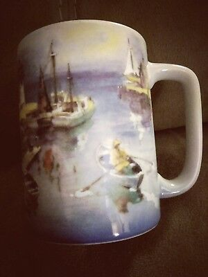 Vtg OTAGIRI LIGHTHOUSE NAUTICAL Coastal FISHERMAN Sail Boat maine Coffee Cup Mug