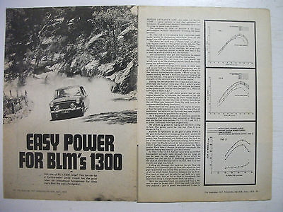 Easy Power For Blmc's Morris 1300 Engine 4 Page Australian Magazine Article
