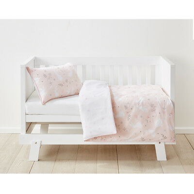 Cotton Cot Quilt Cover Set Bunny Pink and White Pillow Case Reversible Baby Bed