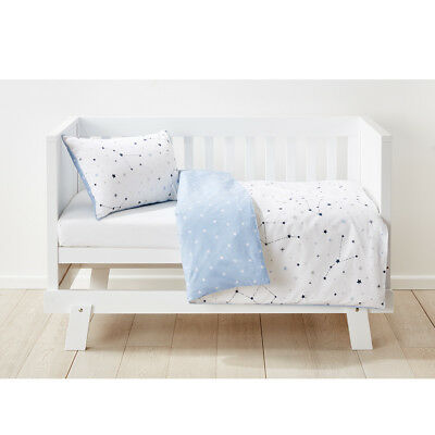 Cotton Cot Quilt Cover Set Stars White Soft Blue Pillow Case Reversible Baby Bed