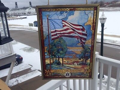 """Glassmaster """"America the Beautiful"""" Stained Glass Panel, New in Box"""