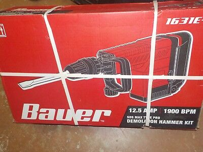 Bauer 1631E-B 12.5 Amp SDS MAX Type Pro Demolition Hammer Drill Kit  NEW !!!