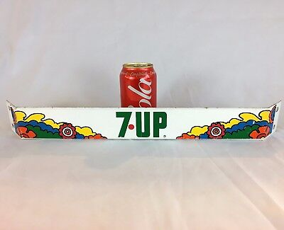 "3rd Vintage 7UP Fridge Shelving advertising Push Bar Sign 19"" Hippie style"