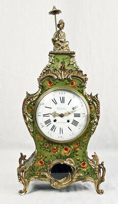 Hand painted Swiss Chinoiserie mantel clock @ 1950s Nice Large Gubelin Lucerne