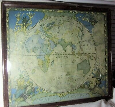 """Antique Wood Framed """"Eastern Hemisphere"""" Map of Discovery Lithograph Print Nice!"""