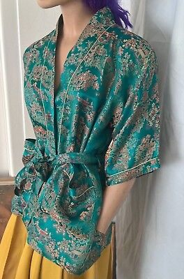 Vintage 90s Chinese Traditional Pattern Reworked Robe with Sash size 12-14/M-L