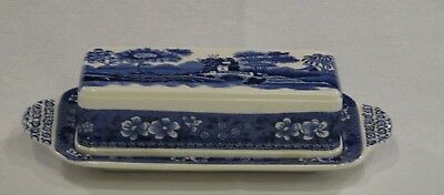 Copeland Spode Blue Tower Butter Dish with Lid Old Backstamp