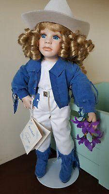 "Porcelain doll 15"" by Connie Johnston for Hamilton Collection. EXSELLENT as NEW!"