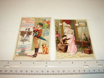 2 Antique Victorian Trade Cards Advertising Sewing Machines Wheeler & Wilson's *
