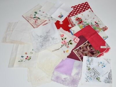 Beautiful Vintage Lot of 19 Hankies Lace Floral Embroidered, Embroidery Linen