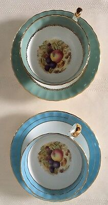 Vintage, Ansley Fruit Bottom Cups And Saucers