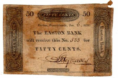 Pennsylvania - Easton Bank - $0.50 - 1816 - Haxby DC 24 G12