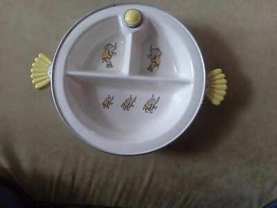 Vintage Majestic Yellow Baby/Child's Divided Warming Dish/Bowl with Elephants