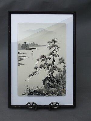 "Japanese Original Woodblock Print ""Lake and Pine Tree"" signed by Tekiho Imoto"