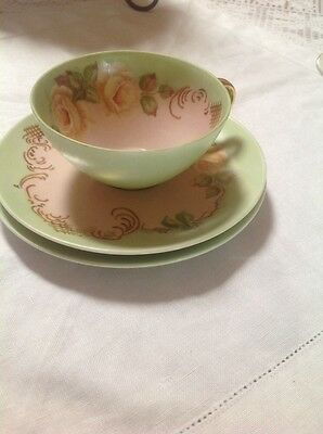 Vintage Beautiful Hand Painted Fine China Trio Pink & Green,Roses
